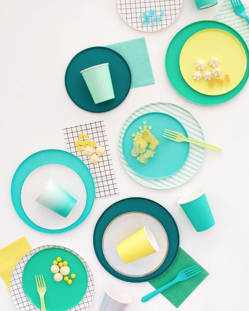 Teal Party Plates (Large)-Party Love