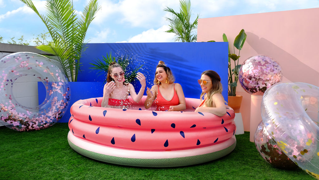 Minnidip Just Add Water(melon)! Luxe Inflatable Pool-Party Love