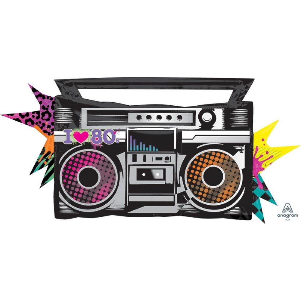 Totally 80's Boom Box Stereo Foil Balloon 88cm-Party Love