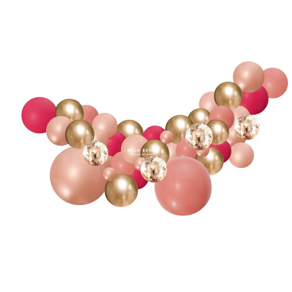 Wild Berry, Rosewood, Rose Gold Balloon Garland 2 Meter BG039-Party Love