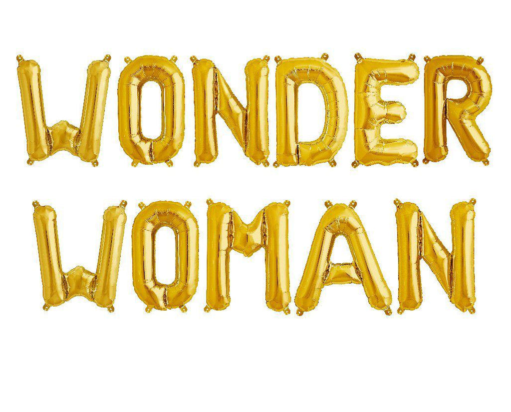 Wonder Woman Gold Foil Balloons-Party Love