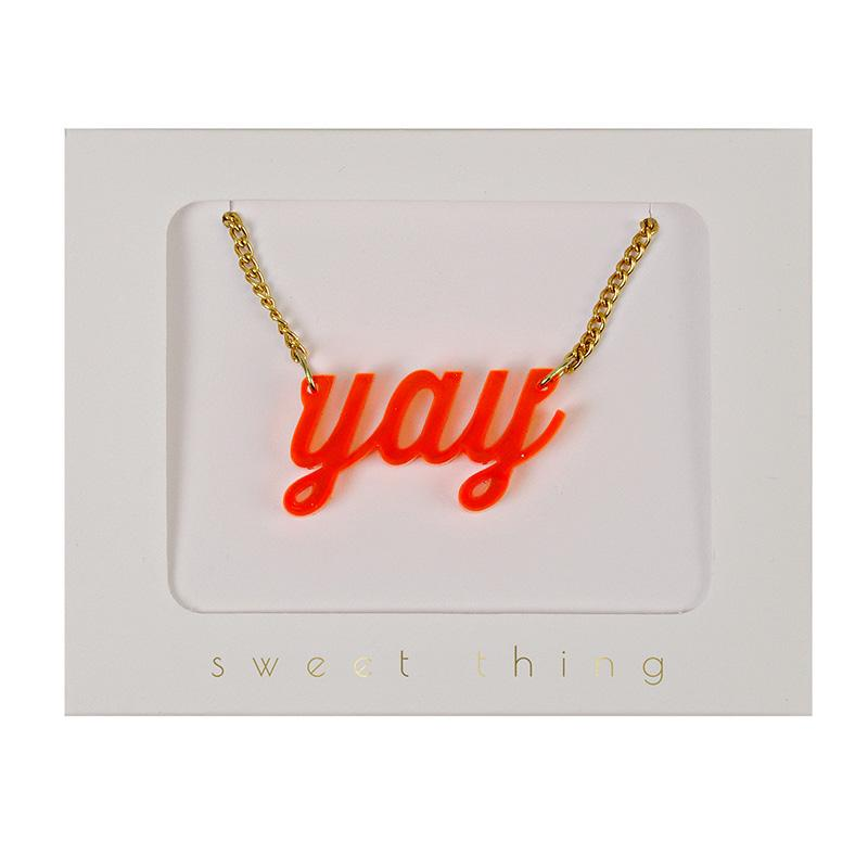 Yah Acrylic Necklace with Gold Chain-Party Love