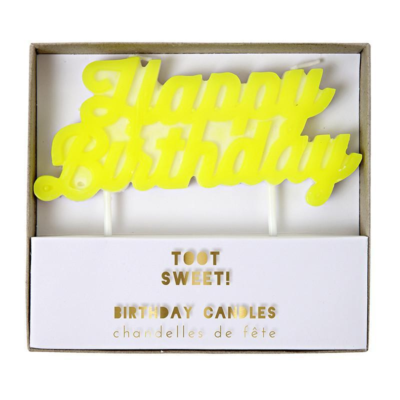 Yellow Happy Birthday Candle-Party Love