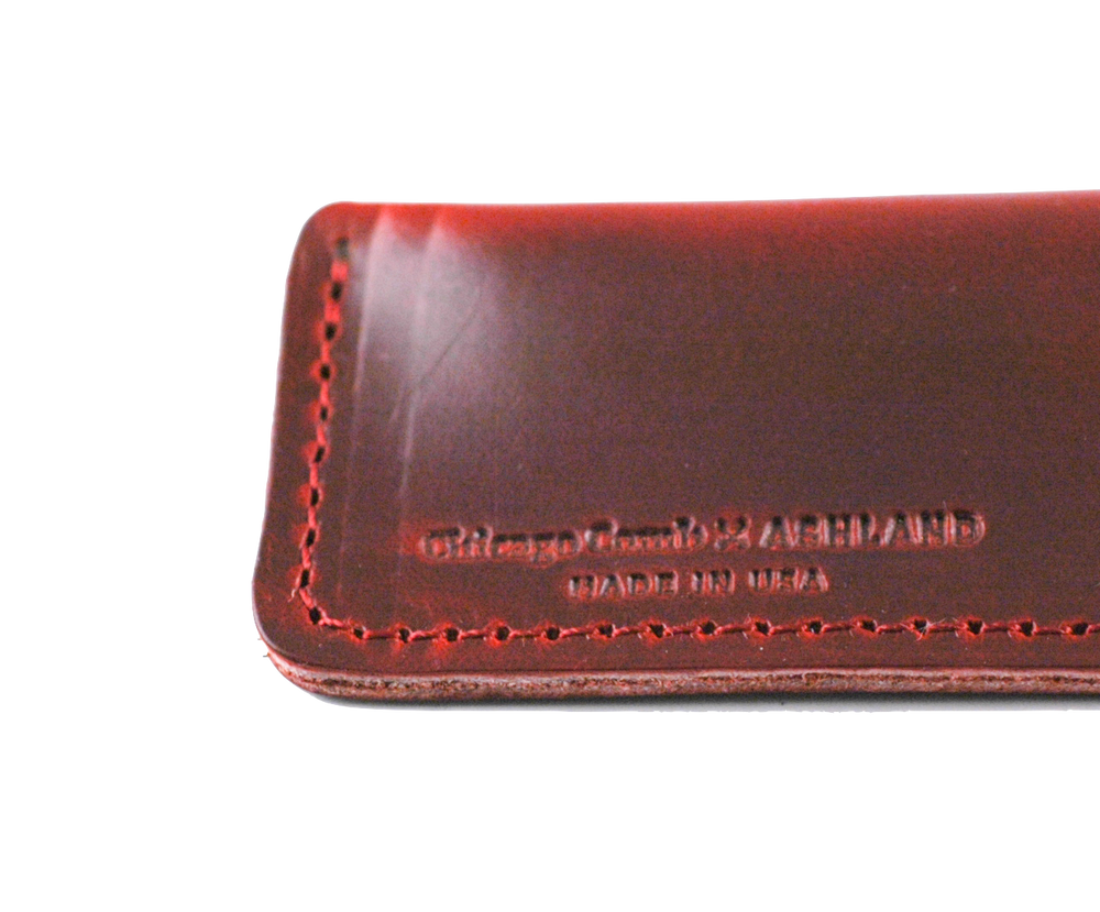 Étui en cuir rouge // Crimson Red Horween leather sheath