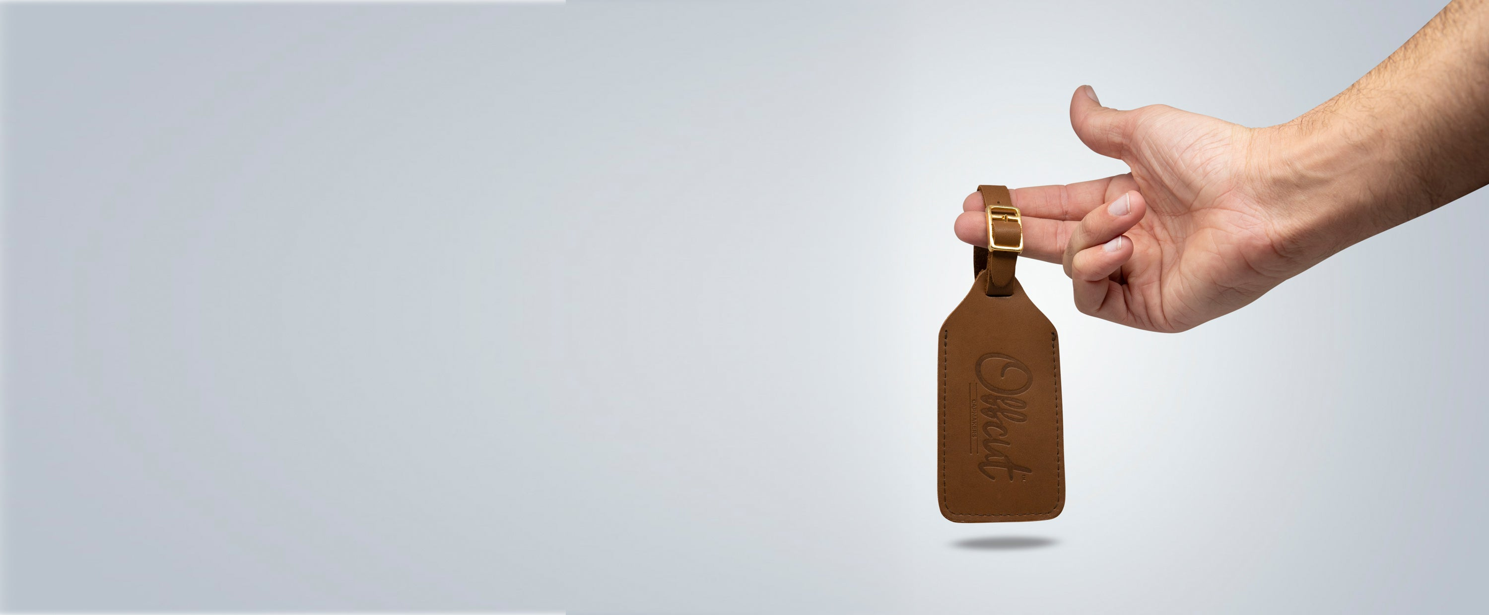 Offcut leather luggage tag