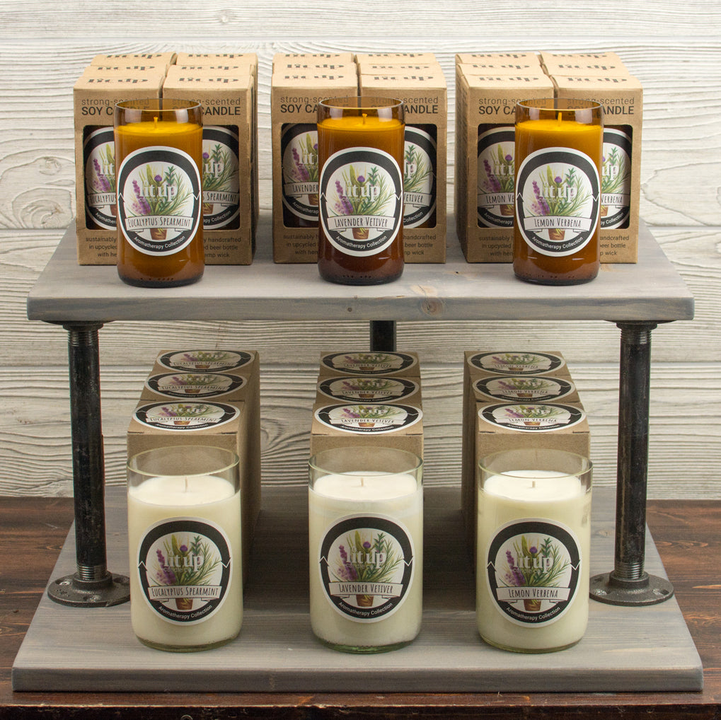 Aromatherapy Collection: 8 oz. Beer Bottle Soy Candles and 12 oz. Wine Bottle Soy Candles