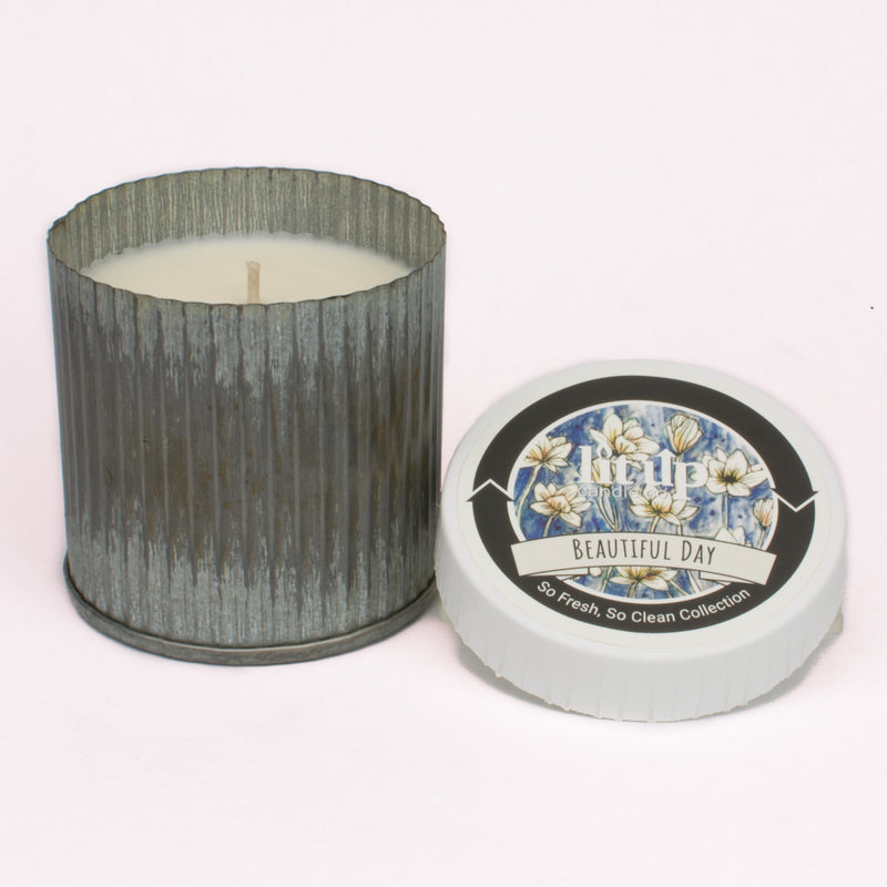 10 oz. Corrugated Tin Candle