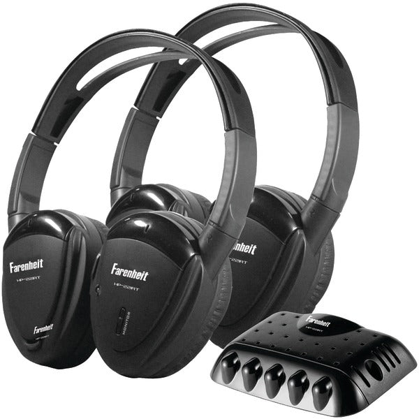 2 Sets of Single-Channel IR Wireless Headphones with Transmitter