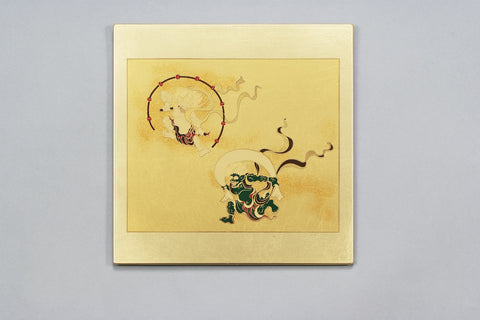"Mouse Pad ""Lacquer Craft Mouse pad Fujin and Raijin (G)"" - JapaneseGoods.jp"