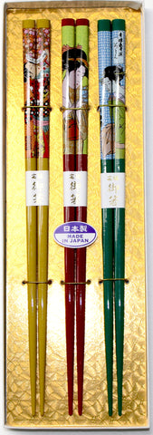 "Chopsticks ""3piece Ukiyoe Chopsticks Gift boxed set 22.5cm"" - JapaneseGoods.jp - 1"