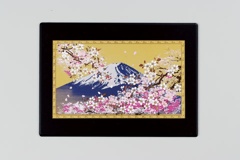 "Multi Purpose Pad ""Lacquer Craft Multi Purpose Pad Mt.Fuji and Cherry Blossoms (B)"" - JapaneseGoods.jp - 1"