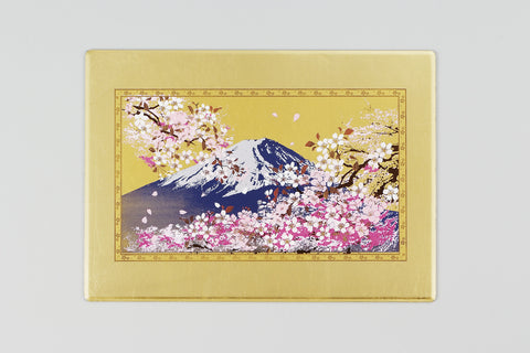 "Multi Purpose Pad ""Lacquer Craft Multi Purpose Pad Mt.Fuji and Cherry Blossoms (G)"" - JapaneseGoods.jp"