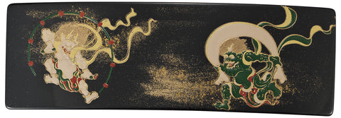 "Hair Accessory ""Lacquer craft Square Barrette (Big) Fujin and Raijin (B)"" - JapaneseGoods.jp - 1"