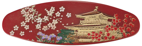 "Hair Accessory ""Lacquer craft Oval Barrette Kinkakuji (R)"" - JapaneseGoods.jp"