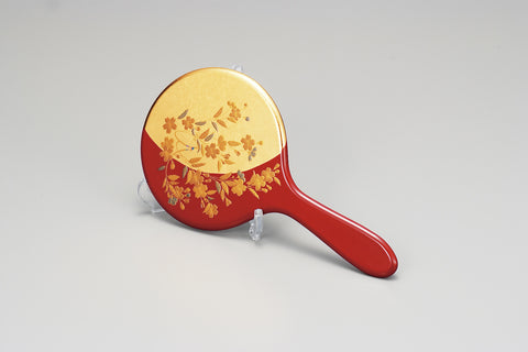 "Hand Mirror ""Lacquer craft Hand Mirror Sakura with Stand"" - JapaneseGoods.jp"