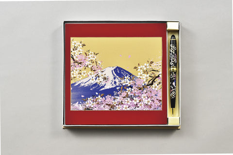 "Assorted Set ""Lacquer Craft 2piece Stationary Set Mt.Fuji and Cherry Blossoms (R)"" - JapaneseGoods.jp - 1"