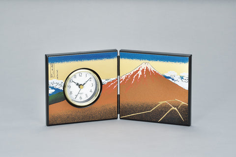 "Clock ""Lacquer Craft Folding screen Clock (Small) KuroFuji"" - JapaneseGoods.jp"