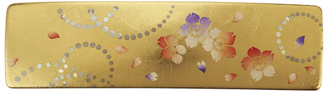 "Hair Accessory ""Lacquer craft Square Barrette (Small) Karin (G) in Paulownia gift box"" - JapaneseGoods.jp - 1"