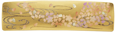 "Hair Accessory ""Lacquer craft Square Barrette (Small) Maizakura (G) in Paulownia gift box"" - JapaneseGoods.jp"
