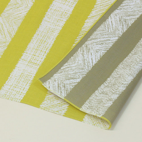 "Furoshiki ""70 reversible Furoshiki Saisai Stripe Yellow/Gray"""