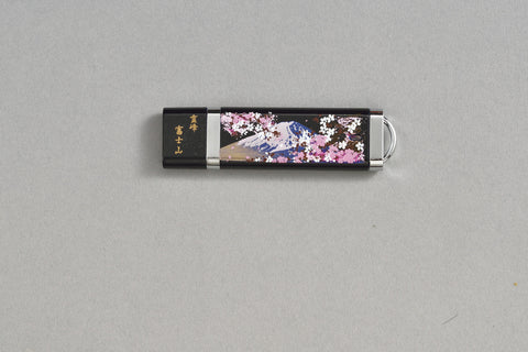 "USB Flash Memory ""Lacquer Craft USB Flash Memory 4GB Mt.Fuji and Cherry Blossoms"" - JapaneseGoods.jp"