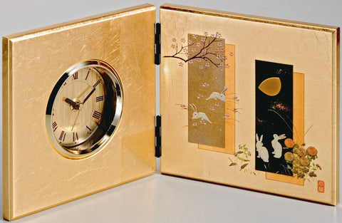 "Clock ""Lacquer Craft Kaga gold leaf Folding screen Clock Yume Usagi"" - JapaneseGoods.jp"