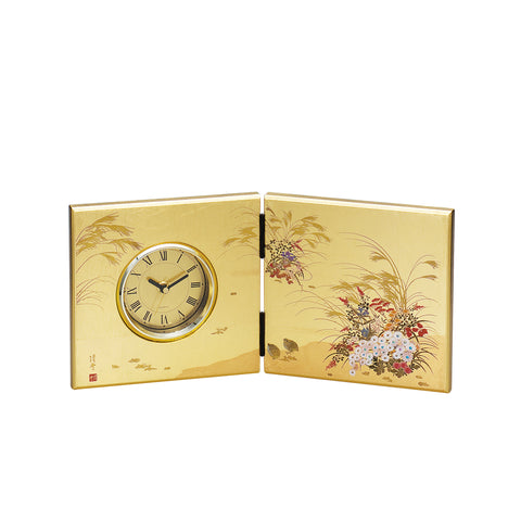 "Clock ""Lacquer Craft Folding screen Clock Miyabi"" - JapaneseGoods.jp"