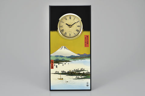 "Clock ""Lacquer craft Clock Mihonomatsubara and Mt. Fuji (B)"" - JapaneseGoods.jp"