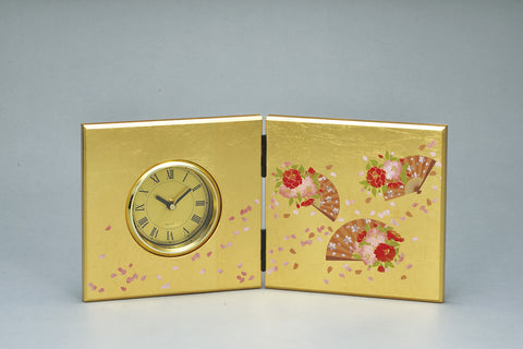 "Clock ""Lacquer Craft Folding screen Clock Yae"" - JapaneseGoods.jp"