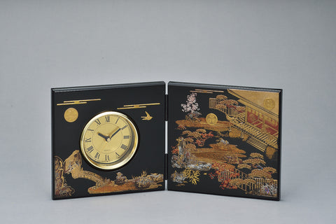 "Clock ""Lacquer Craft Folding screen Clock Hatsune (B)"" - JapaneseGoods.jp"