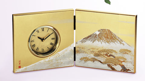 "Clock ""Lacquer Craft Folding screen Clock ShiroFuji (G)"" - JapaneseGoods.jp"