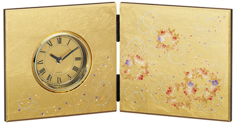 "Clock ""Lacquer Craft Folding screen Clock Karin"" - JapaneseGoods.jp"