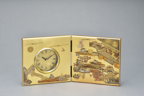 "Clock ""Lacquer Craft Folding screen Clock Hatsune (G)"" - JapaneseGoods.jp"