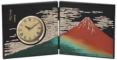 "Clock ""Lacquer Craft Folding screen Clock AkaFuji (B)"" - JapaneseGoods.jp"
