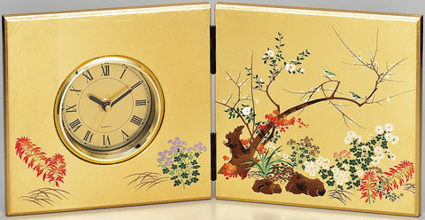 "Clock ""Lacquer Craft Folding screen Clock Miyabisyunjyu"" - JapaneseGoods.jp"