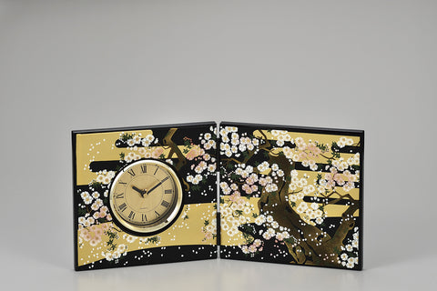 "Clock ""Lacquer Craft Folding screen Clock Miyabizakura"" - JapaneseGoods.jp"