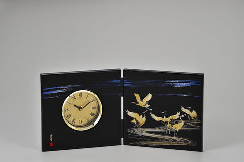 "Clock ""Lacquer Craft Folding screen Clock Miyabizuru"" - JapaneseGoods.jp"