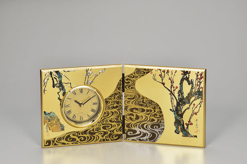 "Clock ""Lacquer Craft Folding screen Clock Kourinbai"" - JapaneseGoods.jp"