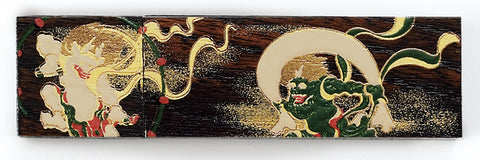 "USB Flash Memory ""Lacquer Craft USB Wooden Zelkova stick design Flash Memory 4GB Fujin and Raijin"" - JapaneseGoods.jp"