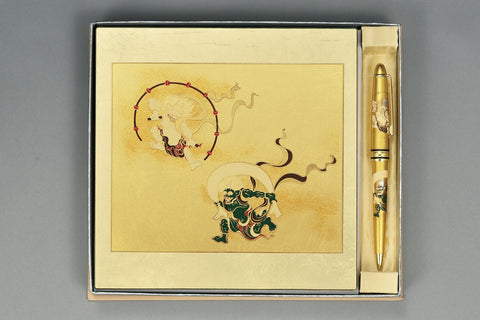 "Assorted Set ""Lacquer Craft 2piece Stationary Set Fujin and Raijin (G)"" - JapaneseGoods.jp - 1"