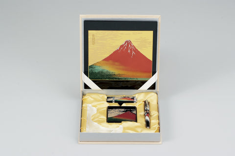 "Assorted Set ""Lacquer Craft 5piece Stationary Set AkaFuji (B)"" - JapaneseGoods.jp"