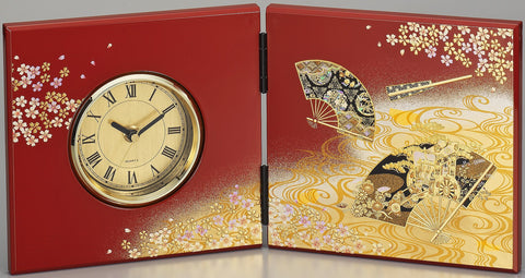 "Clock ""Lacquer Craft Folding screen Clock Kyomiyabi"" - JapaneseGoods.jp"