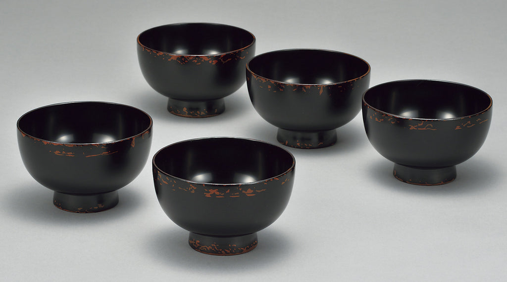 "Soup Bowl ""Wooden 4.0 soup bowl 5 piece set FUCHINUNOAKEBONOUCHIKURO MIZUMEZAKURA work by Miyatsune"" - JapaneseGoods.jp"