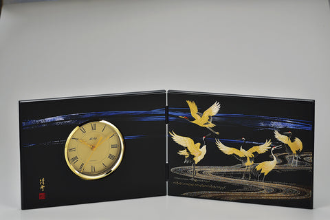 "Clock ""Lacquer Craft Folding screen Clock Miyabizuru (Big)"" - JapaneseGoods.jp"