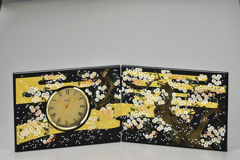 "Clock ""Lacquer Craft Folding screen Clock Miyabizakura (Big)"" - JapaneseGoods.jp"
