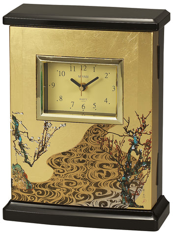"Clock ""Lacquer Craft Radio clock with Key cabinet Kourinbai"" - JapaneseGoods.jp - 1"