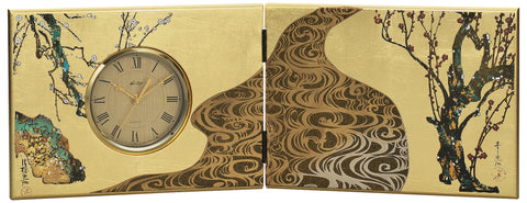 "Clock ""Lacquer Craft Folding screen Clock Kourinbai (Big)"" - JapaneseGoods.jp"