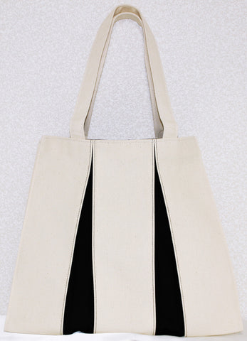 "Bag ""Canvas ougi tote bag M ( ivory / black )"" - JapaneseGoods.jp"