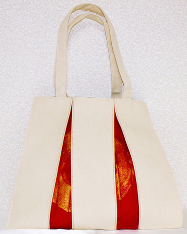 "Bag ""Canvas ougi madoka tote bag M ( ivory / red・gold )"" - JapaneseGoods.jp"