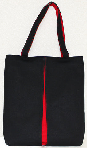 "Bag ""Canvas ougi pleats tote bag M ( black / red )"" - JapaneseGoods.jp"